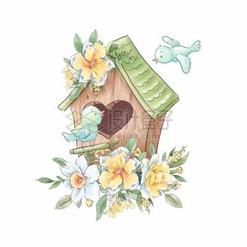 黄色白色玫瑰花装饰的卡通鸟窝和小鸟水彩插画png图片素材