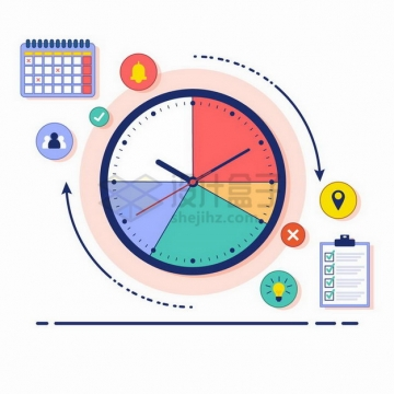 MBE风格饼形图时钟和日程安排计划png图片素材