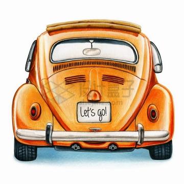 彩绘风格橙色甲壳虫老爷车汽车后面png图片免抠矢量素材