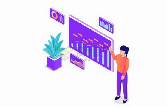 2.5D风格正在大屏幕上讲解销售数据的女孩png图片免抠矢量素材
