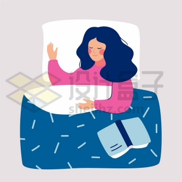 扁平插画风格正在睡觉的美女俯视图png图片免抠矢量素材
