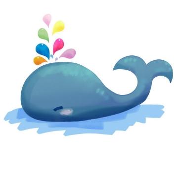 可爱卡通蓝色鲸鱼喷出彩色水滴图片免抠素材