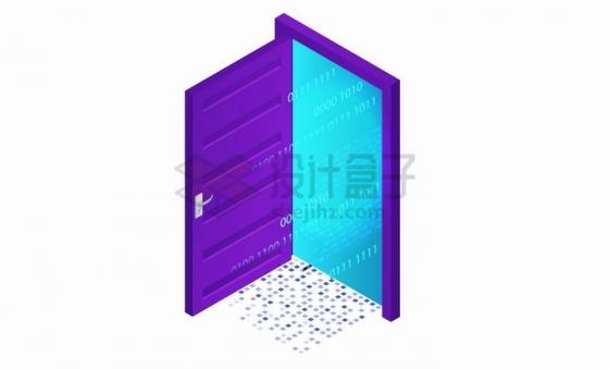 2.5D风格打开的紫色大门png图片免抠矢量素材