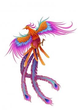 红色紫色的七彩凤凰中国传统神兽png图片免抠素材