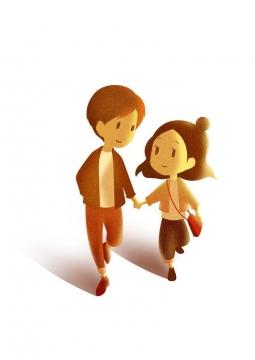 肌理插画风格手牵手的卡通情侣情人节图片免抠素材