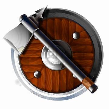 游戏中的战斧和木制盾牌png图片免抠矢量素材