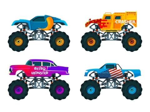 4款不同装饰的大脚车侧面图png图片免抠矢量素材