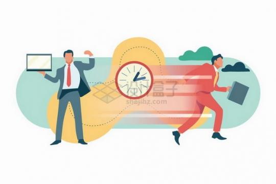 商务人士快速行走和时钟时间安排计划png图片素材