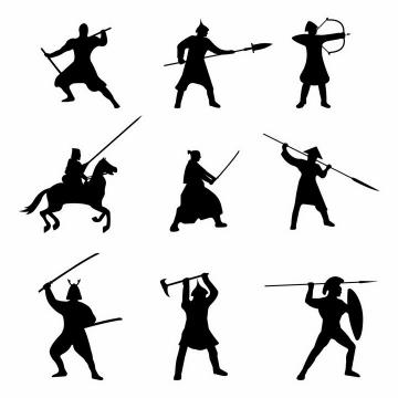 古罗马战士西欧骑士日本武士骑士剪影png图片免抠素材