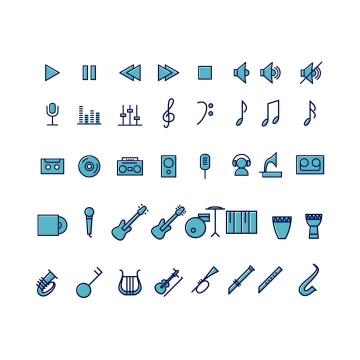 蓝色线面双色风格音乐播放器乐器类icon图标图片免抠素材