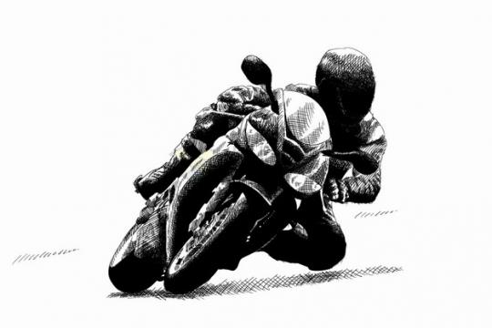转弯的摩托车比赛手绘线条素描插画png图片素材