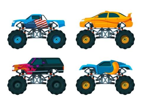 4款不同涂装的大脚车侧面图png图片免抠矢量素材