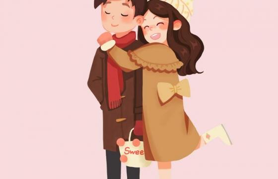 手绘卡通风格拥抱在一起的情侣快乐情人节图片免抠素材