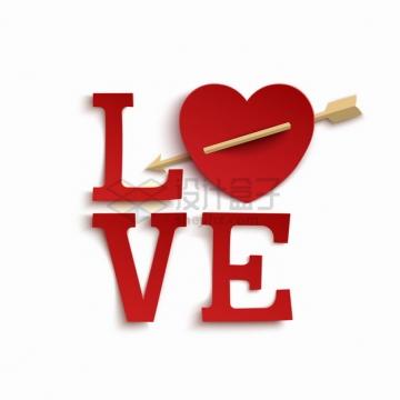 创意被箭射穿的红心组成的LOVE情人节字体png图片素材