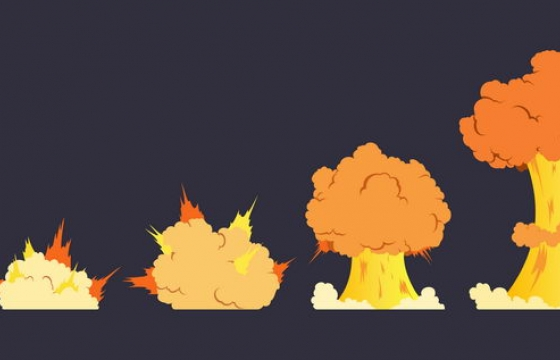 卡通漫画风格蘑菇云爆炸过程效果图片免抠素材
