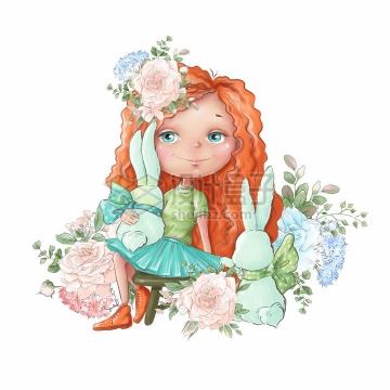 卡通女孩抱着小兔子粉色玫瑰花水彩插画png图片素材