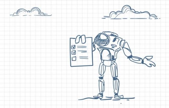 圆珠笔画涂鸦风格拿着工作计划安排清单的机器人职场人际交往配图图片免抠矢量素材