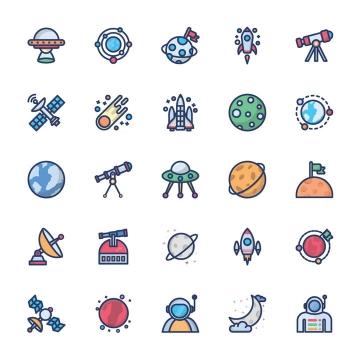 25款MBE风格卡通太阳系星球火箭望远镜等天文科普图标图片免抠素材