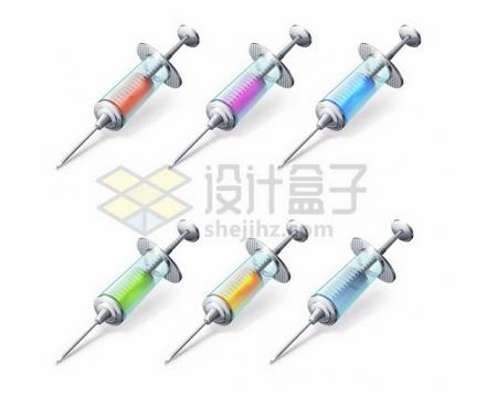 6款不同颜色的金属不锈钢注射器针筒613773png图片素材