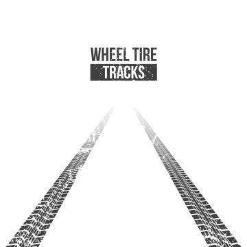 通向远方的路汽车轮胎印车轮印png图片免抠矢量素材