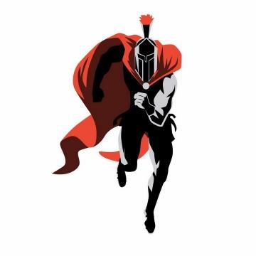 正在奔跑的黑色披着红色披肩的漫画古罗马战士角斗士png图片免抠矢量素材