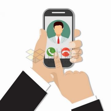 扁平化风格商务人士手机上拨打电话png图片免抠矢量素材