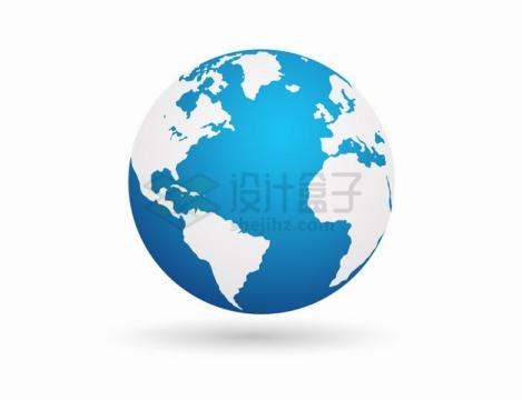蓝白色的地球模型定位在大西洋png图片素材
