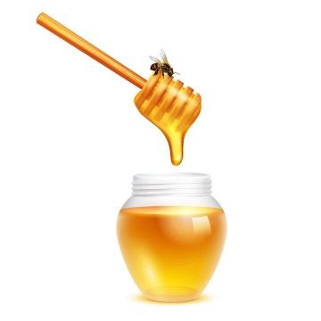 蜂蜜棒上流淌的蜂蜜滴入到蜂蜜罐中还有一只小蜜蜂免抠矢量图片素材