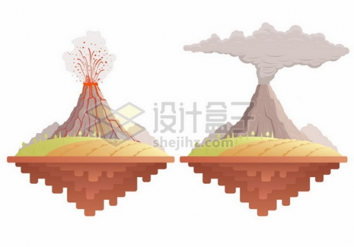 卡通火山喷发爆发扁平插画542946png矢量图片素材