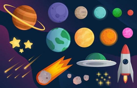 各种卡通风格太阳系行星和流星飞碟火箭等天文科普图片免抠素材