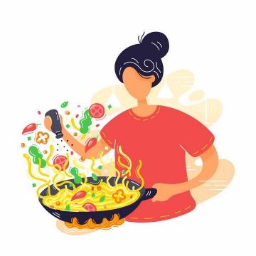 扁平插画风格正在煮面做饭的女孩png图片免抠矢量素材