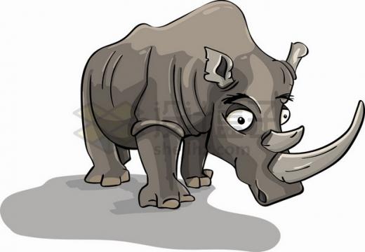 丑萌的卡通犀牛png图片素材