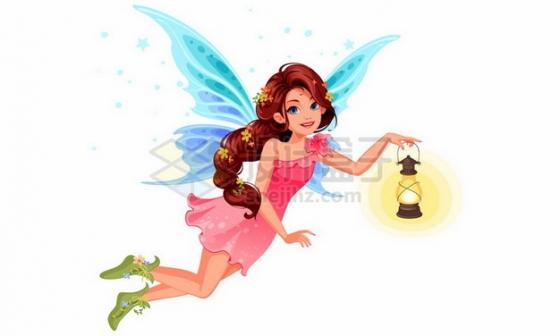 提着油灯的卡通花仙子小精灵png图片素材