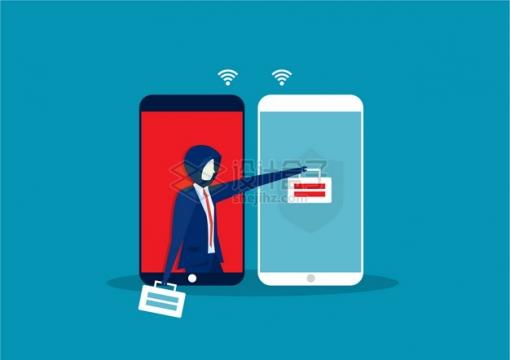 商务人士通过手机网络盗窃手机支付安全网络诈骗插画png图片素材