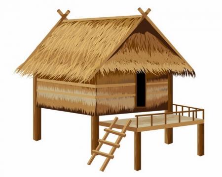 东南亚热带风情茅草屋png图片免抠矢量素材