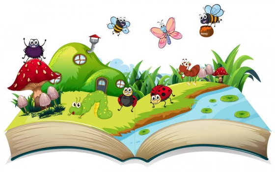 卡通风格打开的书本中各种小动物小昆虫免抠矢量图片素材