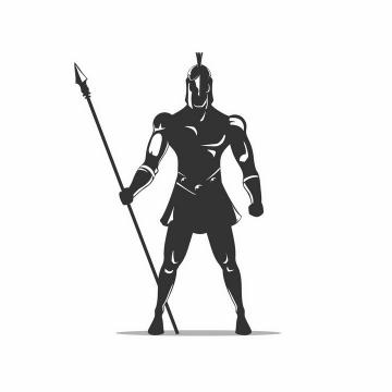 黑白色漫画古罗马战士角斗士拿着长矛正在站岗png图片免抠矢量素材