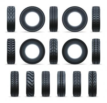 各种不同花纹的汽车轮胎正面与侧面图png图片免抠矢量素材
