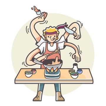 卡通漫画风格三头六臂手忙脚乱做饭的厨师图片免抠矢量素材