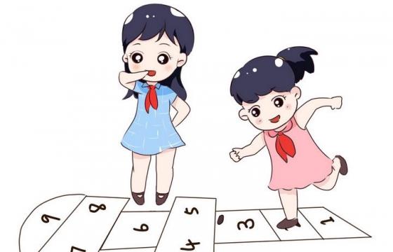 手绘卡通风格正在玩跳格格的小朋友儿童节图片免抠素材