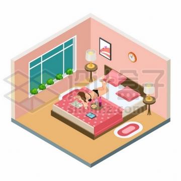 2.5D风格房间闺房内趴在床上看书的内衣美女347540png图片素材