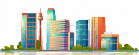远处的城市天际线高楼大厦建筑群803615png图片素材