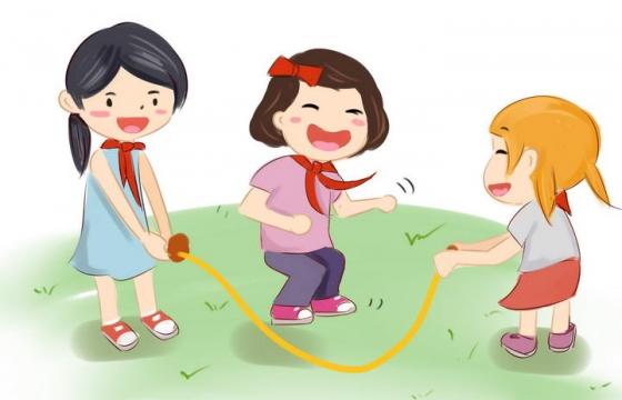 手绘卡通风格正在玩跳绳的小朋友儿童节图片免抠素材