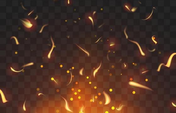 正在燃烧的火焰和飘舞的火花火星效果图片免抠矢量图素材