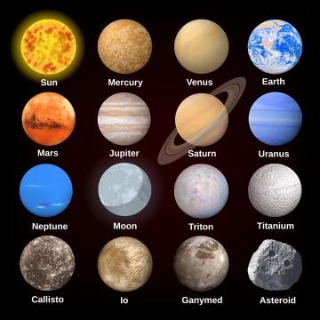 16款太阳系各大恒星和行星天文科普图片免抠素材