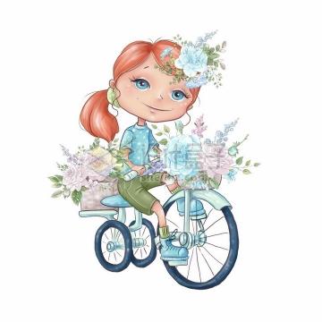 卡通女孩骑自行车花篮中的玫瑰花水彩插画png图片素材