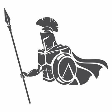 黑色漫画风格手持长矛的古罗马战士角斗士半身像png图片免抠矢量素材
