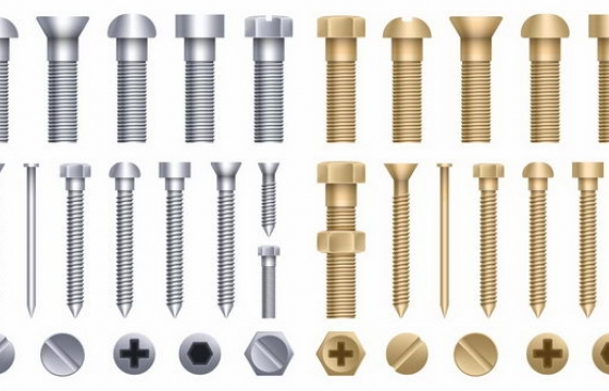 各种不同形状和规格的螺丝钉免抠png图片矢量图素材