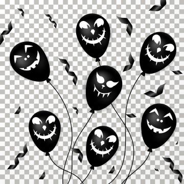 黑色表情复活节装饰气球图片免抠素材