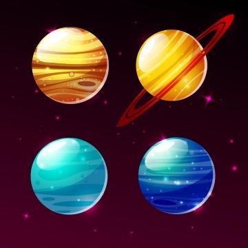 水晶风格太阳系行星木星土星天王星和海王星天文科普图片免抠素材
